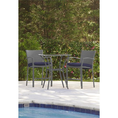 COSCO Outdoor Living 3 Piece High Top Bistro Lakewood Ranch Steel Woven Wicker Patio Balcony Furniture Set with Cushions, Navy ()