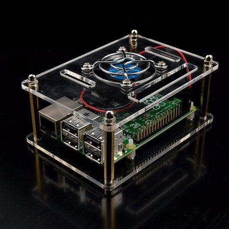 Transparent Acrylic Case with Cooling System External Fan for Better Heat Dissipating + Screw Driver Tool for Raspberry Pi 3 / 2 Model B and Raspberry Pi Model B + (B Plus)