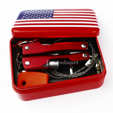 Cheerwing Self Help Outdoor Sport Camping Hiking Survival Emergency Gear Tools Box Kit Set
