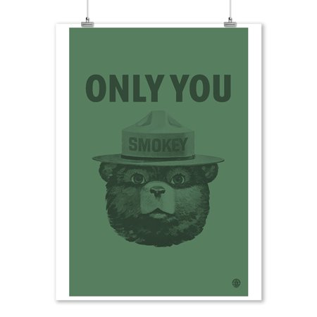 Smokey Bear Poster (Smokey The Bear - Only You - Duotone - Lantern Press Artwork (9x12 Art Print, Wall Decor Travel Poster))