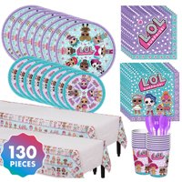 LOL Surprise Complete Tableware Kit For 16 130 pc w/ Table Cover Plates and Cups