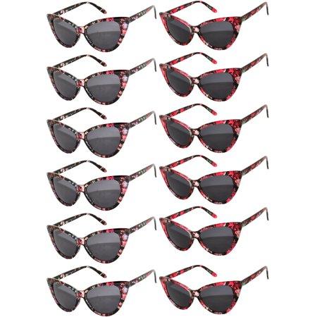 Retro Women's Cat Eye Vintage Sunglasses UV Protection Red and Black Flower Frame Smoke Lens Brand OWL (12 (Sunglasses Vintage Flower)