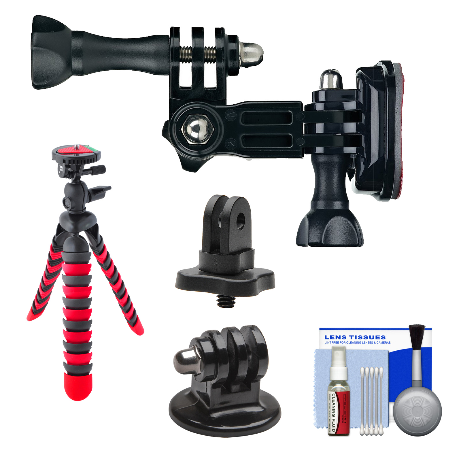 "PRO-mounts PMGP18 Side Helmet Mount with 1/4"" Thread Adapter + Flex Tripod + Kit for GoPro HERO, Sony Action Cam, Drift, Veho Muvi, and most Cameras"
