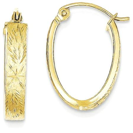 IceCarats 10k Yellow Gold Brushed Oval Hoop Earrings Ear Hoops Set   Fine Jewelry Gift Valentine Day Set For Women Heart