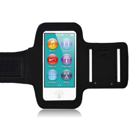 Trio Ipod Nano Leather Case - Sports Gym Armband Workout Cover Case Arm Strap Jogging Band Neoprene Black AOL for Ipod Nano 7th Gen
