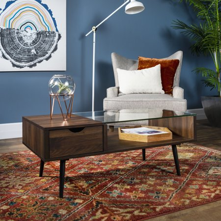 Manor Park Mid-Century Modern Glass and Wood Coffee Table, Dark