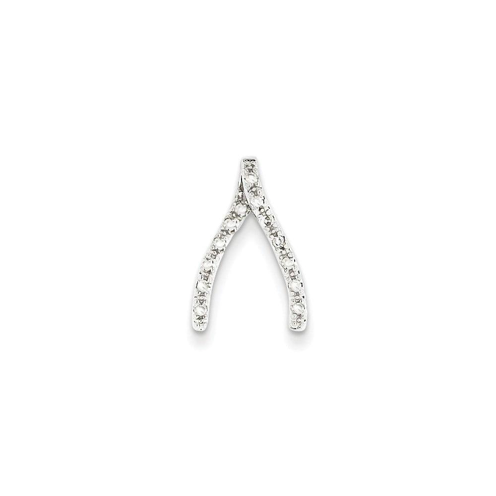 14k White Gold Diamond Wishbone Pendant. Carat Wt- 0.12ct