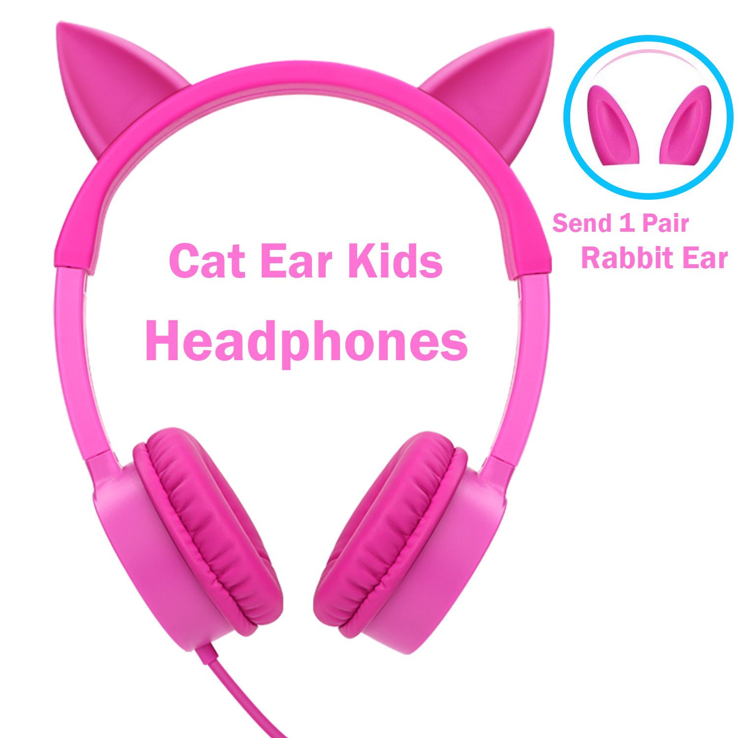Kids Headphones, Vogek 2 in 1 Cat / Rabbit Wired On-Ear Headphones Headsets with 85dB Volume Limited, Children Headphones for Kids-Pink