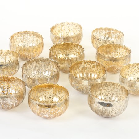 Koyal Wholesale Vintage Gold Floating Tealight Candle Holders, 12-Pack, Petite Glass Candle Holders For Tealight - Gold Candle Holder