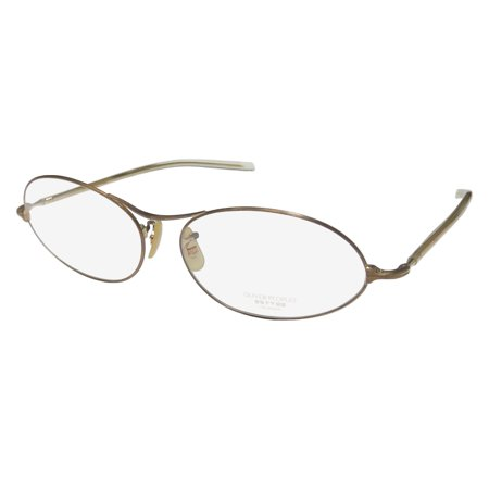 (New Oliver Peoples Op-618 Mens/Womens Designer Full-Rim Antique Gold / Transparent Yellow Frame Demo Lenses 54-15-135 Eyeglasses/Spectacles)