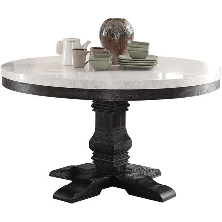 ACME Nolan Pedestal Round Dining Table, White Marble & Weathered Black. (Chairs Separately) ()