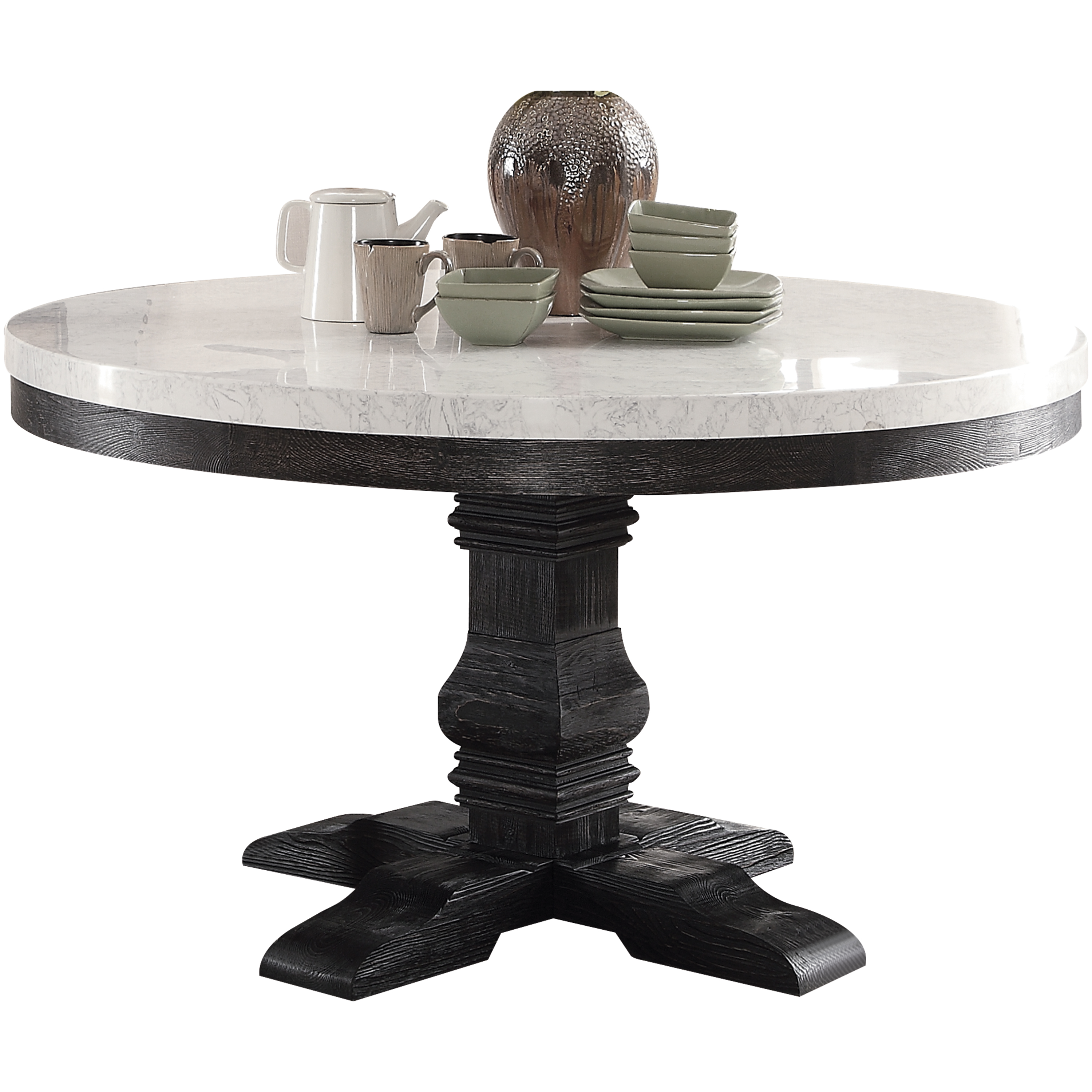 ACME Nolan Pedestal Round Dining Table, White Marble & Weathered Black. (Chairs Separately)