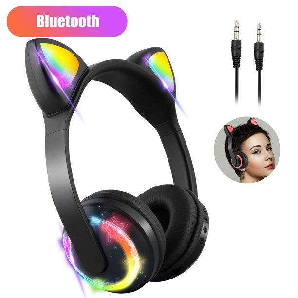 TSV Wireless Bluetooth Cat Ear Headphones with Mic and Volume Control, 7 Colors LED Light Flashing Glowing Over Ear Stereo Gaming Headset Compatible with Smartphones PC Tablet for Girls Kids