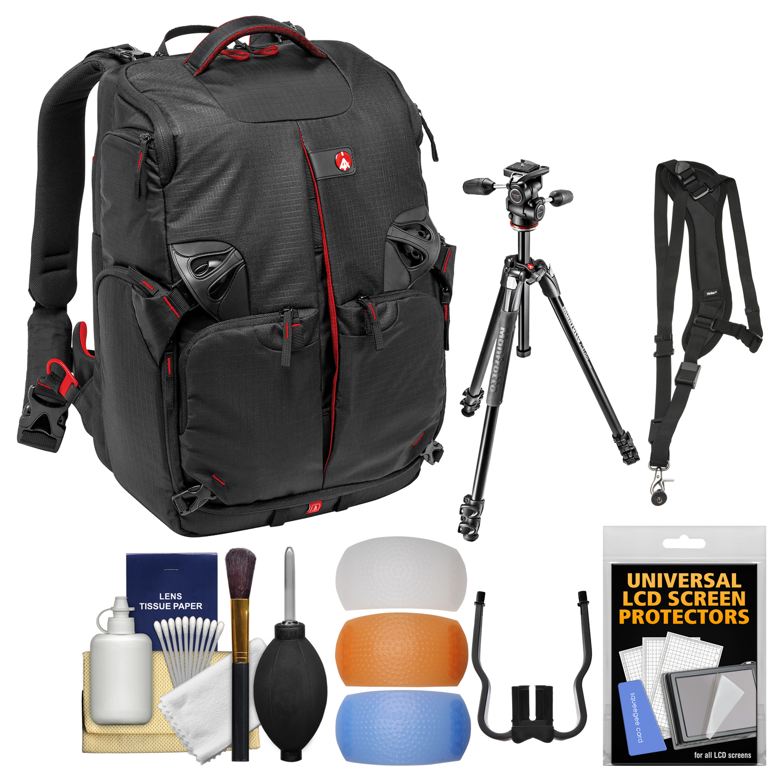 "Manfrotto Pro Light 3N1-35 PL Digital SLR Camera Sling Backpack & 290 Xtra 67.5"" Professional Tripod with 3-Way Head + Sling Strap + Kit"