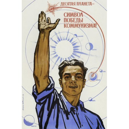 Soviet space poster of a civilian raising his hand in the air with a map of the solar system in background Poster Print by John ParrotStocktrek Images (Map Solar System)