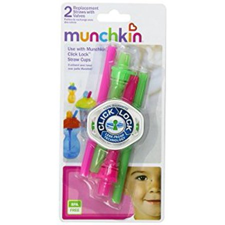 Munchkin Click Lock Replacement Straws, Pink/Green, 4-Count ()
