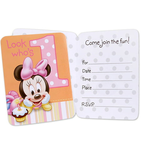 Disney Minnies 1st Birthday Invitations