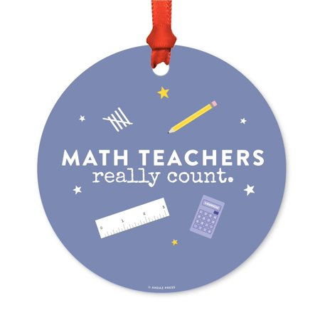 Round Metal Christmas Ornament, Math Teachers Really Count, Includes Ribbon and Gift Bag