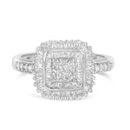 10K White Gold 0.50ct Round and Baguette Cut Diamond Engagement Ring (H-I, I1-I2) Baguette Cut Diamond Engagement Ring