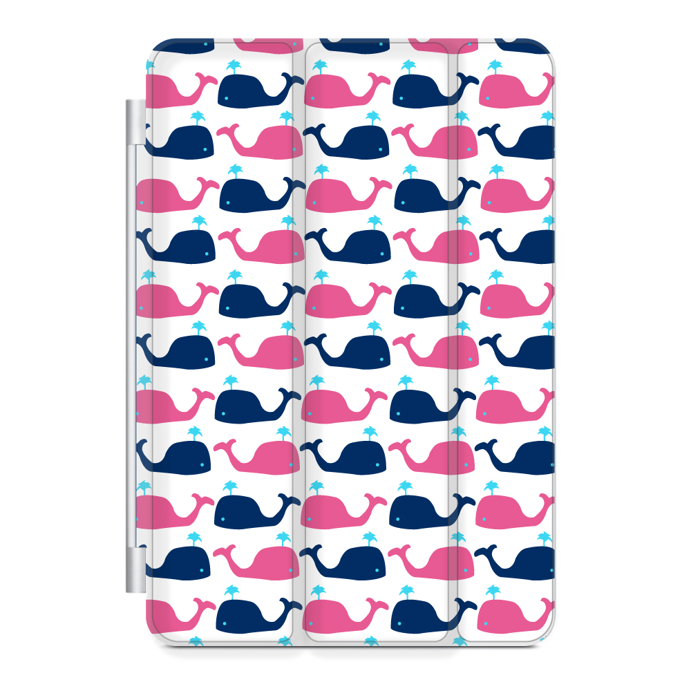 CUSTOM Black Smart Cover (Magnetic Front Cover / Stand) for Apple iPad Air 1 (2013 Model) - Pink Navy Cartoon Whales