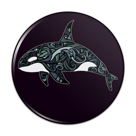 Killer Whale Orca with Waves Compact Pocket Purse Hand Cosmetic Makeup Mirror - 2.25