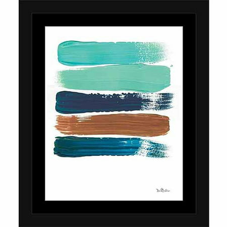 Original Contemporary Abstract Painting - Paint Swatch Line Texture Contemporary Modern Trendy Abstract Painting Brown & Blue, Framed Canvas Art by Pied Piper Creative