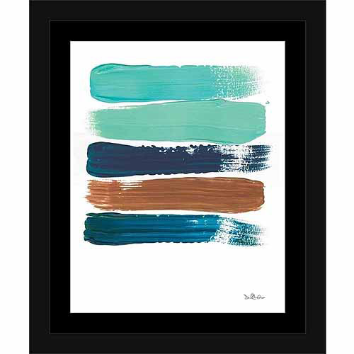 Paint Swatch Line Texture Contemporary Modern Trendy Abstract Painting Brown & Blue, Framed Canvas Art by Pied Piper Creative