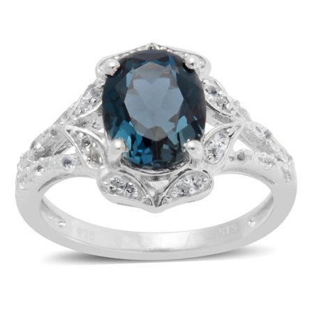 925 Sterling Silver Oval Blue Topaz White Topaz Fashion Ring For Women Size 6.75 Cttw (Blue Topaz Fashion Ring)