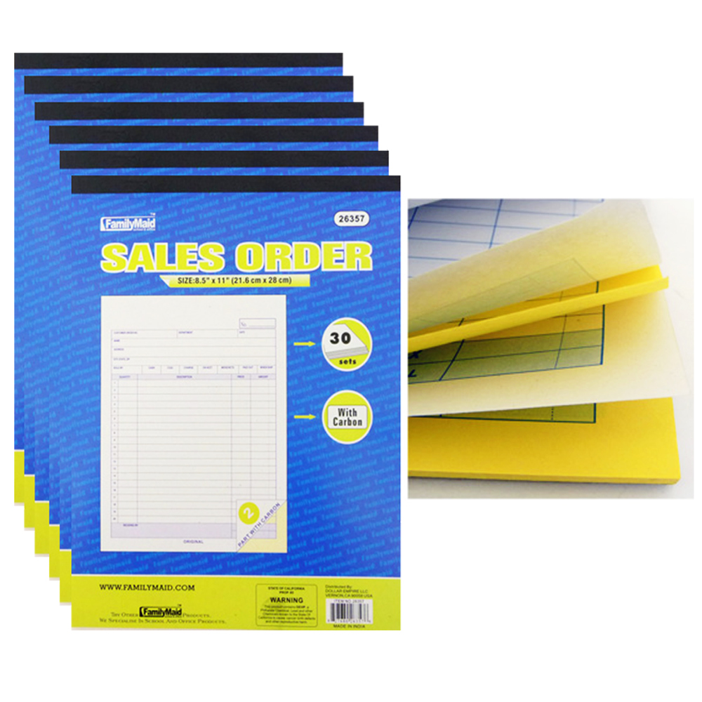 """6 Sales Order Carbon Receipt Book Record Keeping 2 Part 30 Sets Copy 8.5"""" x 11"""" by DOLLAR EMPIRE"""