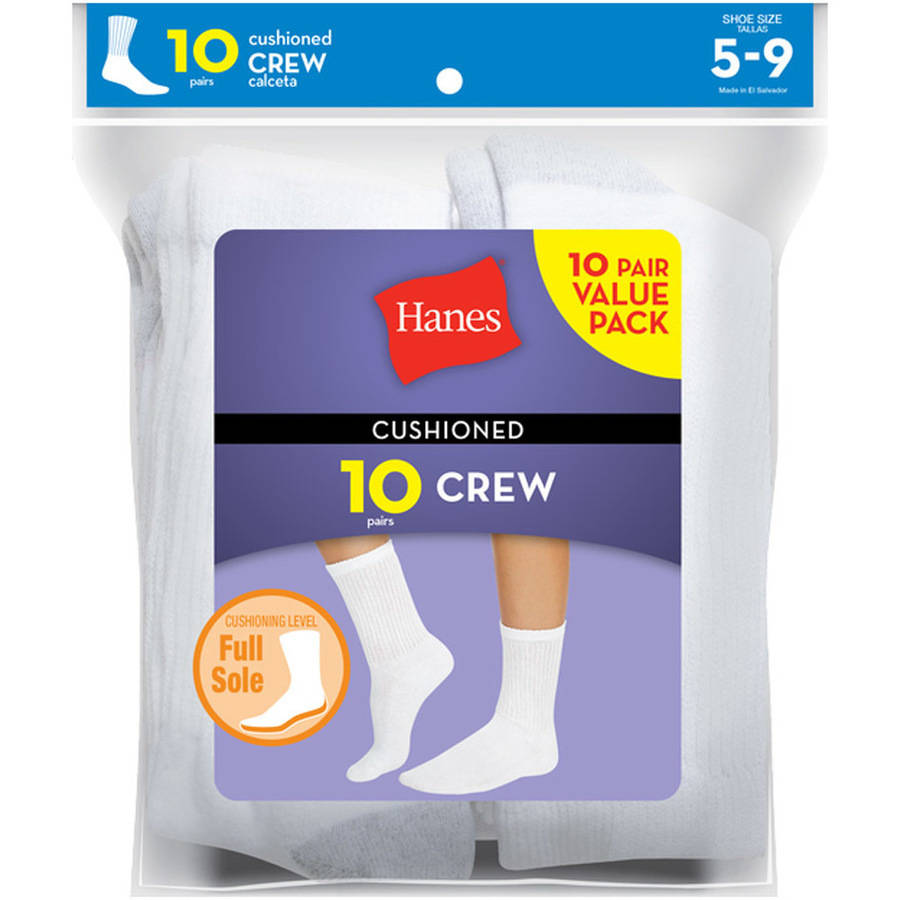 12 Pack Hanes Women/'s Cushioned Comfort Reinforced Cotton Crew Socks White
