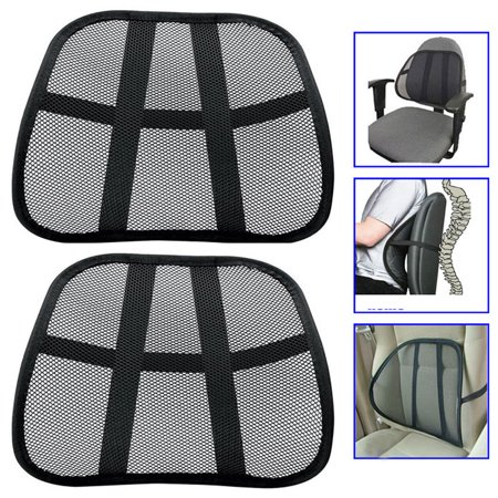 2 Cool Vent Cushion Mesh Back Lumber Support Car Office Chair Truck Seat Blac