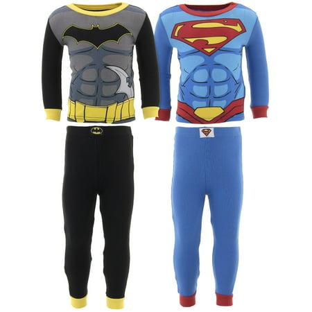 Justice League Batman & Superman Long Sleeve Pajamas, 4pc Set (Toddler Boys)