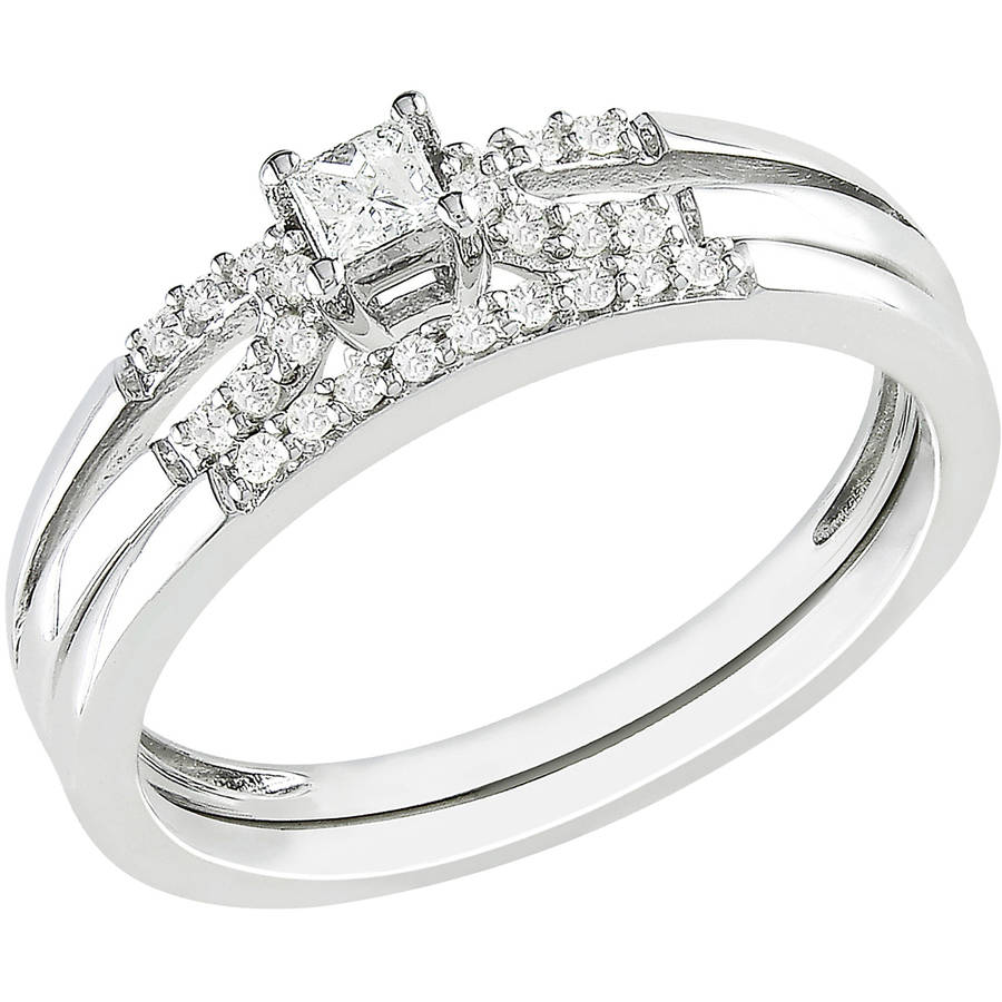 Miabella 1 5 Carat T.W. Princess and Round-Cut Diamond Sterling Silver Bridal Ring Set by Generic