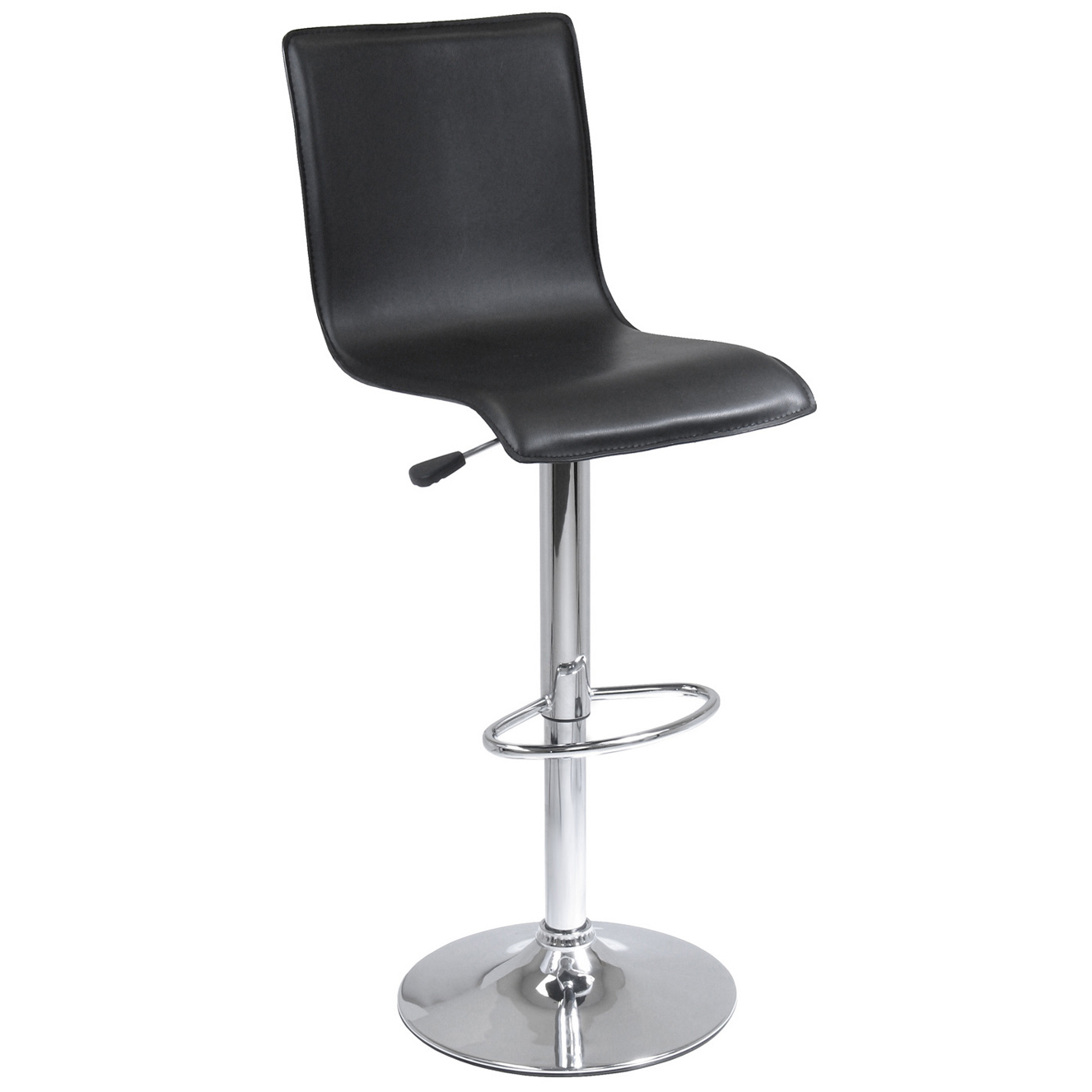 Winsome Wood 93145 Black Faux Leather & Chrome Swivel Stool With Back