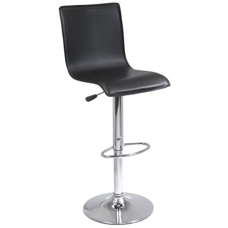 Outstanding Winsome Wood 93145 Black Faux Leather Chrome Swivel Stool With Back Creativecarmelina Interior Chair Design Creativecarmelinacom