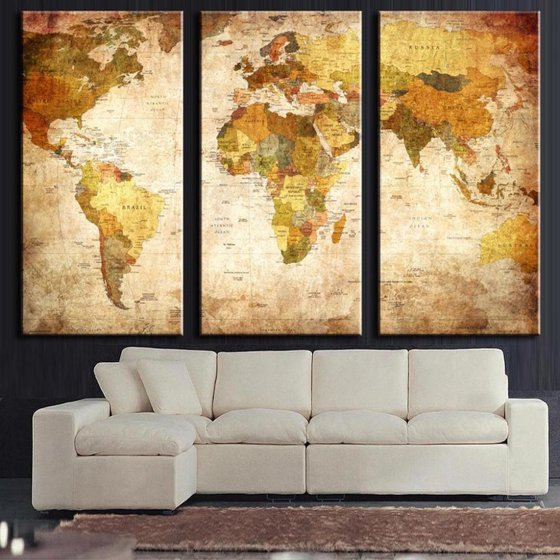 3Pcs Unframed World Map Modern Wall Painting Canvas Print Home ...