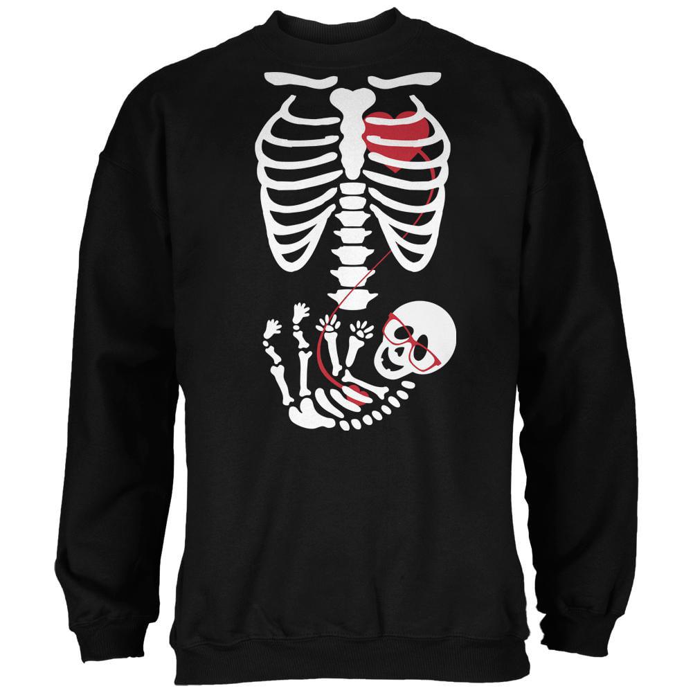 Halloween Baby Geek Glasses Skeleton Black Adult Sweatshirt