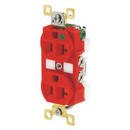BRYANT Receptacle,Duplex Outlet,Flush Mount,20A BRY8300RED
