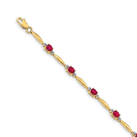 14K Yellow Gold Diamond and Composite Ruby Oval Bracelet