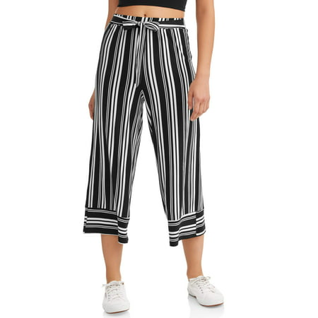 - Juniors' Yummy Wide Leg Crop Pants with Tie Waist