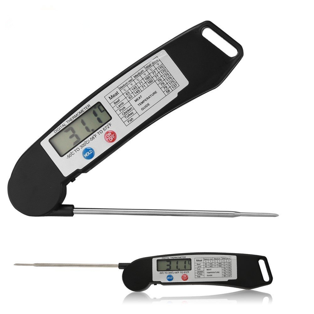 Digital Food Thermometer Instant Read Cooking Thermometer with Collapsible Internal Probe Anti-Corrosion for Food Meat Grill BBQ Milk and Bath Water