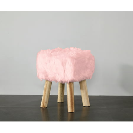Mainstays Square Faux Fur Stool, Multiple Colors