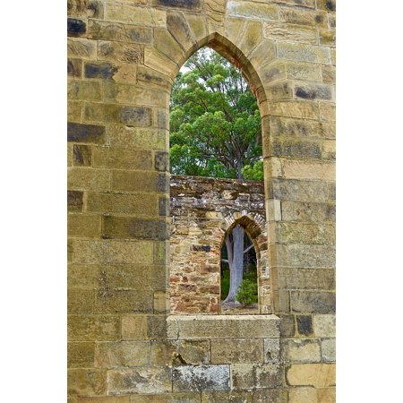 Peel-n-Stick Poster of Architecture Church Ruin Heritage Window Arches Poster 24x16 Adhesive Sticker Poster Print