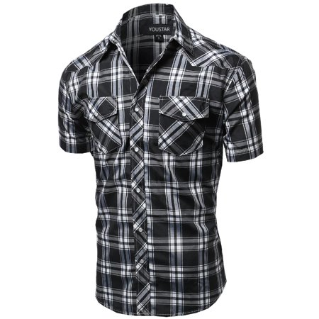 FashionOutfit Men's Casual Short Sleeve Buttondown Checkered Plaid Shirts