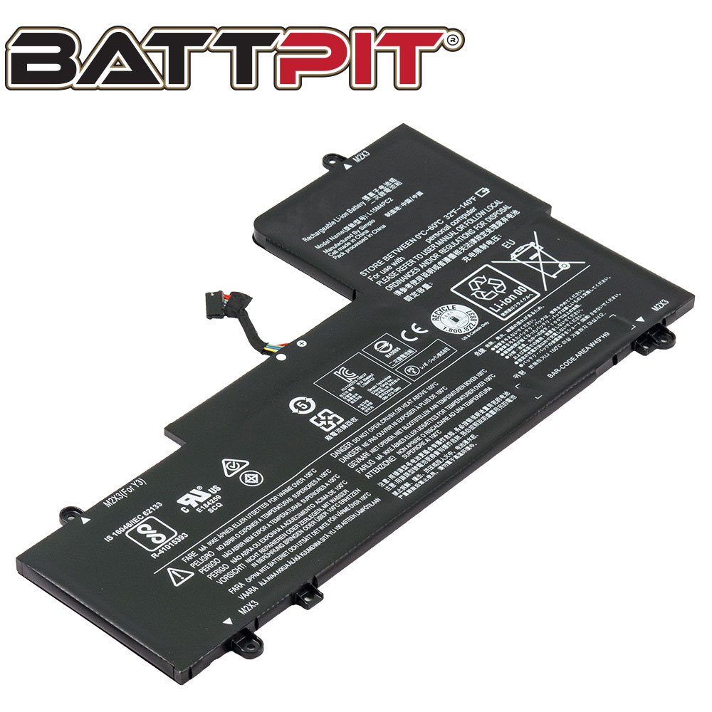BattPit: Laptop Battery Replacement for Lenovo Yoga 710-14ISK, Yoga 710-14IKB, 5B10K90778, L15M4PC2 (7.64V 6960mAh 53Wh)