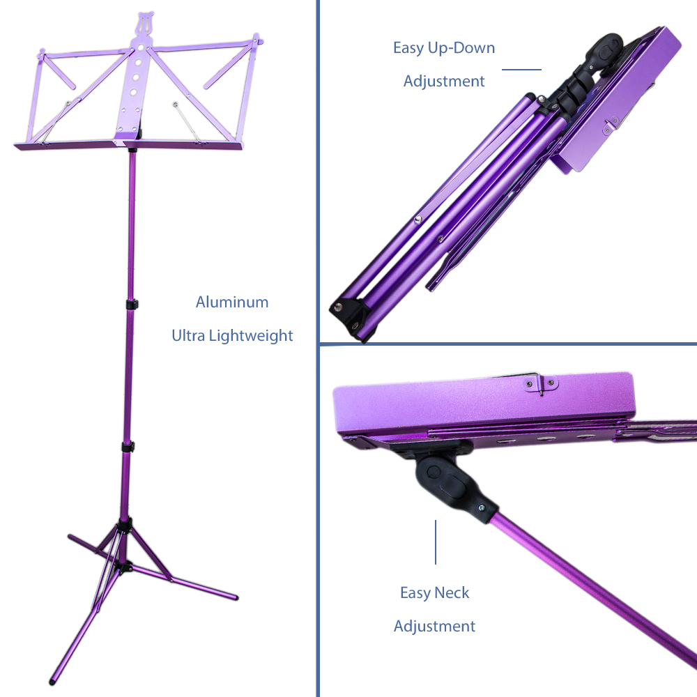 Paititi Brand New Strong Durable Adjustable Folding Music Stand with Carrying Bag-Purple