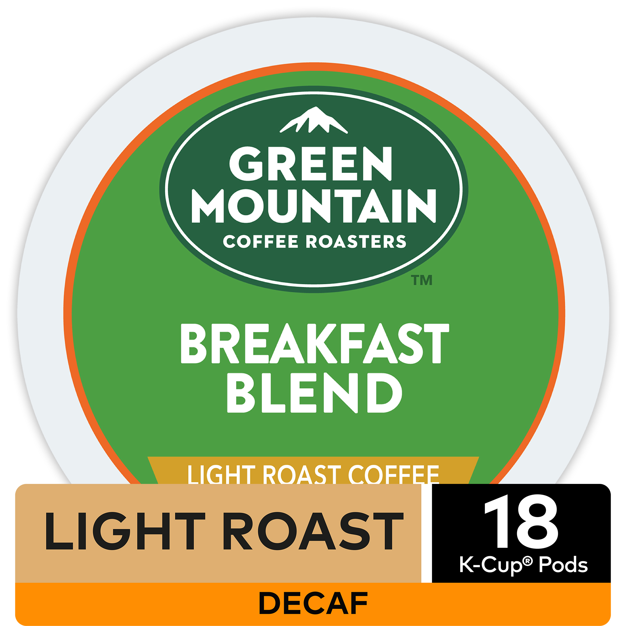 Green Mountain Coffee Breakfast Blend Decaf Coffee, Keurig K-Cup Pods, Dark Roast, 18 Count