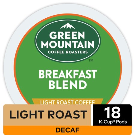 Green Mountain Coffee Breakfast Blend Decaf, Keurig K-Cup Pod, Light Roast, 18 (Decaffeinated K-cups)