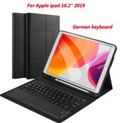iPad 10.2 Wireless Touch Bluetooth Keyboard (German)+ Black Leather Protective Case
