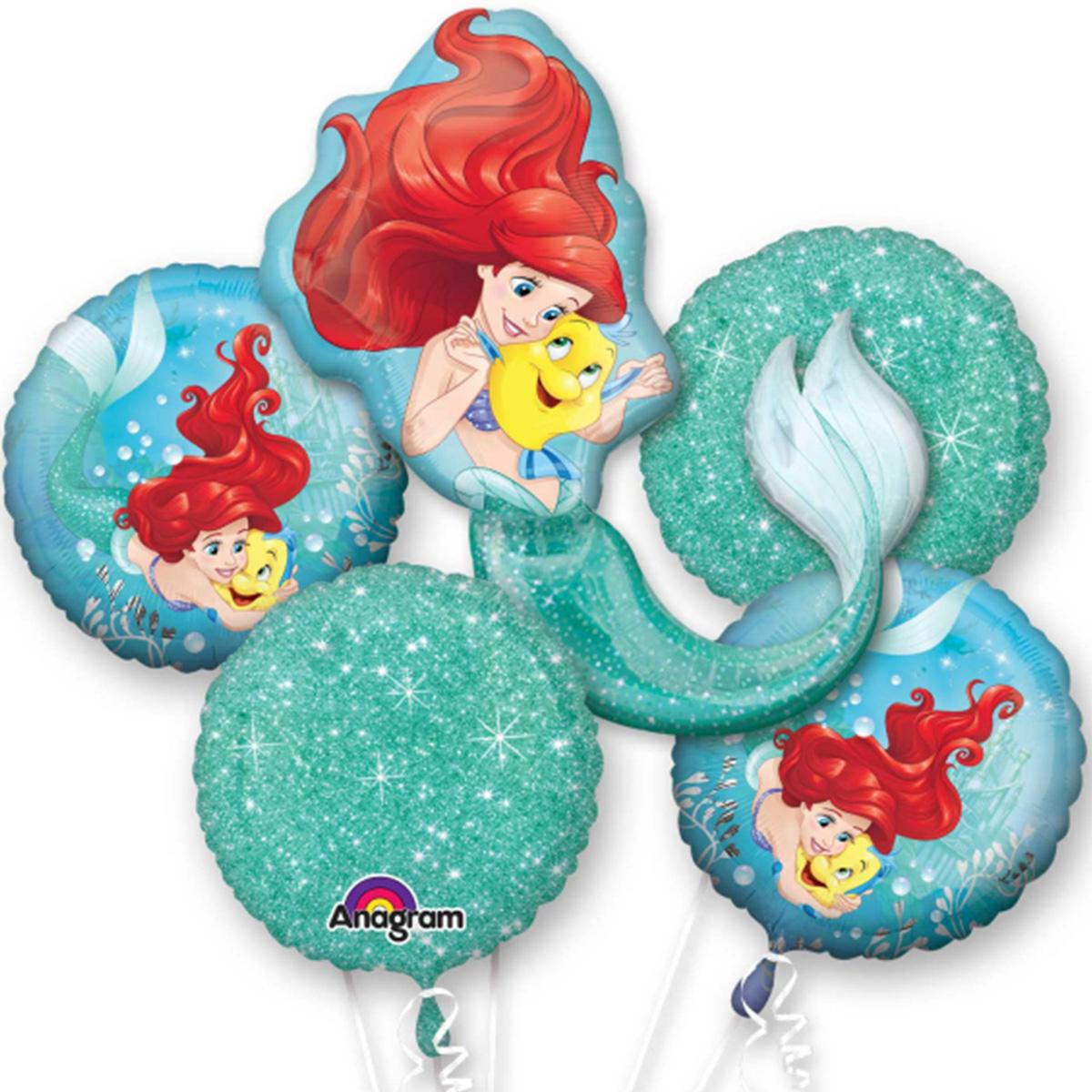 Little Mermaid Ariel Character Authentic Licensed Theme Foil Balloon Bouquet